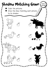 Shadow matching game of farm animals for preschool kids activity worksheet layout in A4 coloring printable version. Vector Illustration.