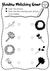 Shadow matching game of flowers for preschool kids activity worksheet in Valentines Day theme coloring printable version layout in A4.