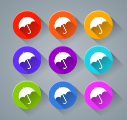 umbrella icons with various colors