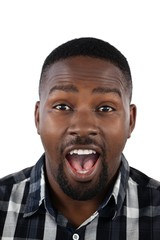 Surprised man against white background
