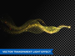 Light line gold swirl effect. Vector glitter light fire flare circle trace