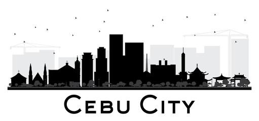 Cebu City skyline black and white silhouette.