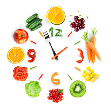 Food clock with fresh fruits and vegetables