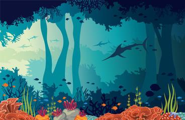 Coral reef, marlins, underwater cave, sea.