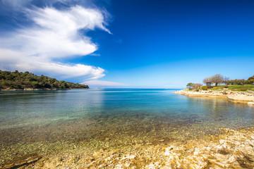 Green lagoon near Porec town on the Adriatic sea coast, Croatia, Europe.