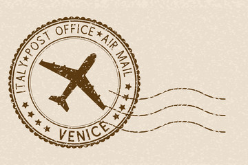 Brown postmark from VENICE, Italy. Grunge postal element with waves. On beige background
