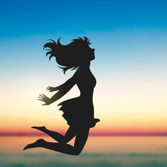 Jumping Girl Cartoon, Sunset, Seaside