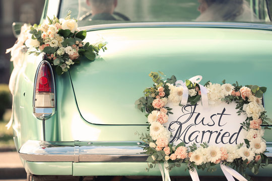 Beautiful wedding car with plate JUST MARRIED
