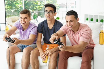 Young men playing video games on TV at home
