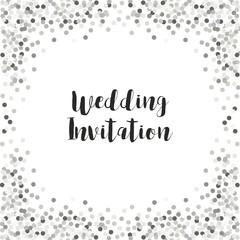 Luxury wedding card template with silver glitter confetti
