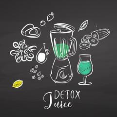 Detox juice ingredients on chalkboard
