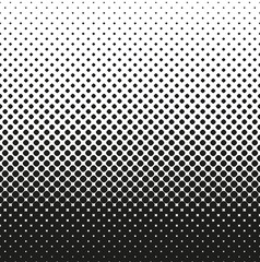 Horizontal seamless Halftone of rounded squares decreases up, on white background. Contrasty halftone background. Vector