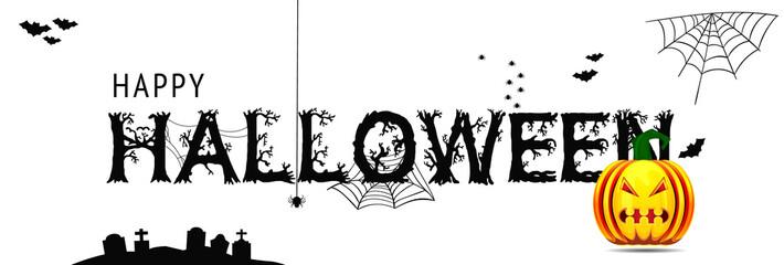 Happy Halloween - Banner mit kalligrafischen Schriftzug, Fledermäusen und Spinnennetz. Halloween pumpkin with scary face.