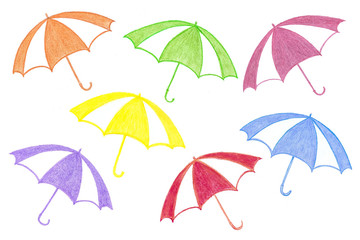 Handmade pencils drawing,  colorful umbrellas, kid's art motif wallpaper