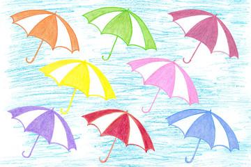 Colorful umbrellas, handmade pencils drawing, kid's art motif wallpaper