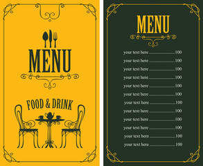 Vector menu for restaurant or cafe with a price list, cutlery and image of table, chairs and tea in a curly frame in the art Deco style