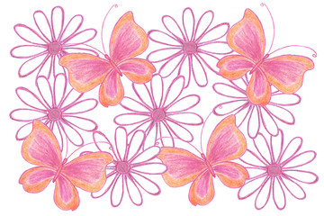 "Floral motif collage, handmade pencils drawing ""Colorful Flowers and Butterflies"""