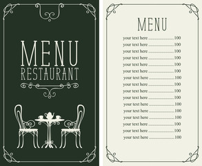 Vector menu for restaurant or cafe with a price list and a table, chairs and tea in a curly frame in the art Deco style