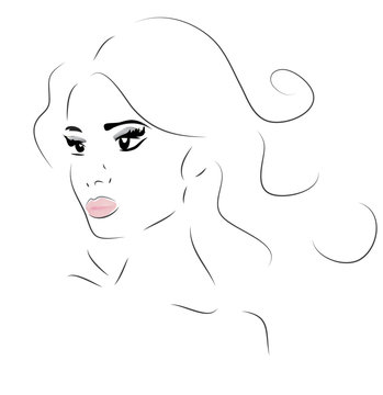Woman Face. Illustration of a Girl Looking Forward