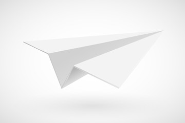 White paper plane isolated on white.