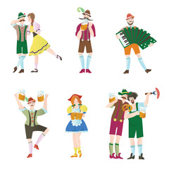Set of men and women at Octoberfest. Characters in national costumes. Vector flat illustration for restaurant or bar menu, isolated on white background.