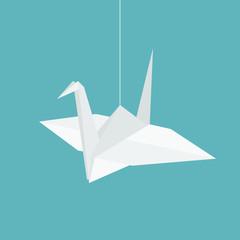 hanging origami paper cranes in flat design vector