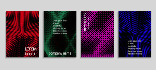Minimalistic abstract vector halftone covers design. Future geometric template. Vector templates for placards, banners, flyers, presentations and reports