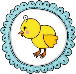 Little chick label classic round sticker