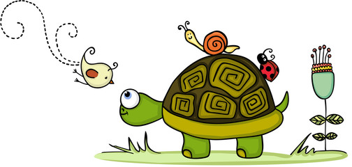 Turtle in garden with animal friends