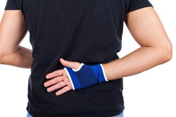 Male hand with elastic bandage isolated