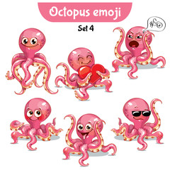 Vector set of cute octopus characters. Set 4
