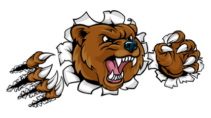 Bear Angry Mascot Background Claws Breakthrough