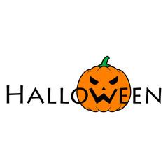 Logotipo Halloween con calabaza en W color en fondo blanco