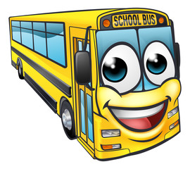 School Bus Cartoon Character Mascot