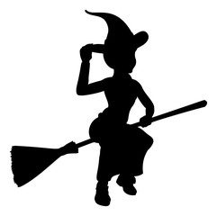 Halloween Witch Flying On Broomstick Silhouette