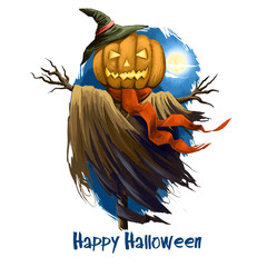 Happy Halloween digital poster isolated on white background