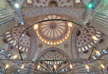 Decorated ceiling at Sultan Ahmed Mosque (Blue Mosque), Istanbul, Turkey
