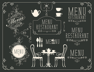 Vector set of images on the theme of menu for restaurant or cafe on a black background. Drawing design elements chalk on a blackboard