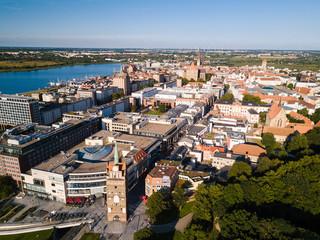 Luftbild der Innenstadt von Rostock