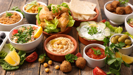 selection of libanese food mezze