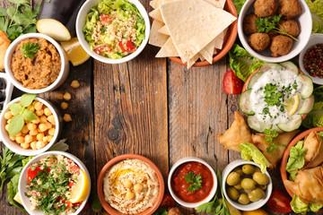 selection of libanese food mezze