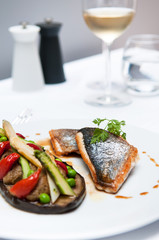 Grilled Halibat fish with Foie Gras, eggplant and asparagus