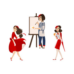 French women characters with typical symbols of France - painting, fashion, wine and chesse, flat cartoon vector illustration isolated on white background. Typical French people, women, characters