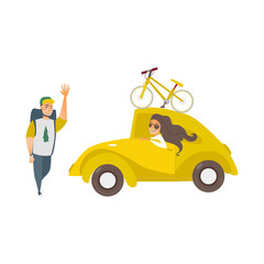 vector flat cartoon style yellow car with bicycle at its roof beautiful girl driving, man hiker waving hand set. Travelling, road trip concept. Isolated illustration on a white background.