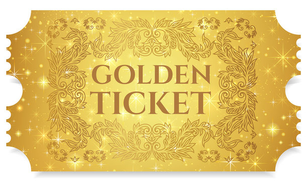 Gold ticket, golden token (tear-off ticket, coupon) with star magical background. Useful for any festival, party, cinema, event, entertainment show