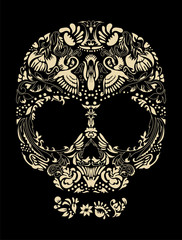 Floral human skull vector