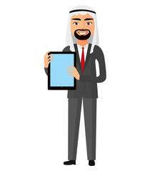 Iran arab business man showing something on the tablet flat cartoon vector illustration.