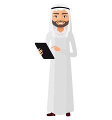 Arab saudi businessman with tablet flat cartoon vector illustration.