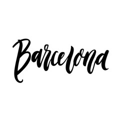 The inscription Barcelona - city name hand-drawing of black ink on a white background. Vector Image. It can be used for a  sticker, patch, invitation card, brochures, poster and etc.