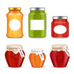 Vector realistic fruit jam jar icon set